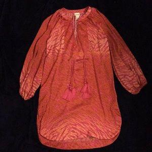 H&M orange and pink boho Long Sleeve Dress Sz 4
